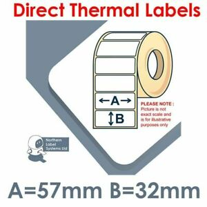 57mm x 32mm White Labels REMOVABLE ADHESIVE