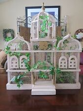 Vintage Victorian White Wooden Bird Cage Huge Architectural Vaulted Domed House