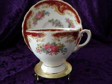 "Tuscan England Bone China TEA CUP & SAUCER ""NAPLES"" Burgundy Red"