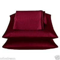 "TWO - SOFT ""SILK"" SATIN / SATEEN PILLOW CASE / COVER - BURGUNDY COLOR (1 PAIR)"