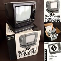 """Boxed Vintage Mains & Battery Operated Portable Black & White 5"""" Television"""