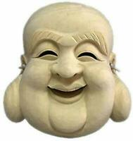 Japanese Noh Mask The LUCKY GODS Hotei San Ver Wooden Mask Hand Made Japan