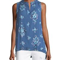 Nanette Lepore Size XS Blue Floral Embroidered Eyelet Sleeveless Top Blouse