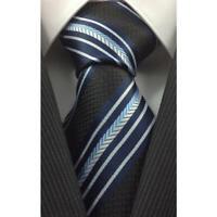 Tie Necktie Blue Black White Striped Classic 100% Silk Men's Ties Neckties