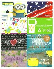 Lot (8) Walmart Gift Cards No $ Value Collectible incl. Minions, US Flag