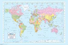World Map Geography Atlas Educational Earth Latitude Classroom Poster - 18x12