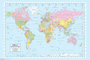 World Map Color Educational Poster 18x12 inch