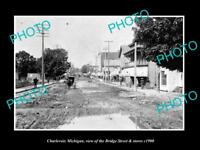 OLD LARGE HISTORIC PHOTO OF CHARLEVOIX MICHIGAN, VIEW OF BRIDGE St & STORES 1900