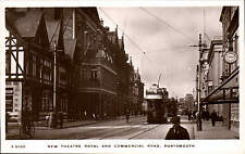 Portsmouth. New Theatre Royal & Commercial Road # S 5050 by WHS Kingsway. Tram.