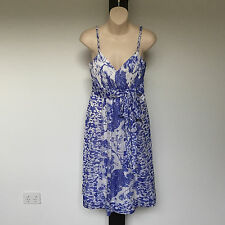 'DIANA FERRARI' EC SIZE '8' BLUE & WHITE LINED DRESS WITH ADJUSTABLE STRAPS