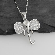 Elephant Head Pendant Necklace - 925 Sterling Silver - CZ Ears Strength Gift NEW