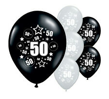 """20 x 50TH BIRTHDAY BLACK AND SILVER 12"""" HELIUM OR AIRFILL BALLOONS (PA)"""