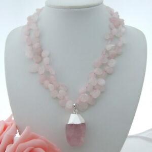 """AB082412 18"""" 2 Strands Rose Quartz Necklace Rose Quartz Pendant"""