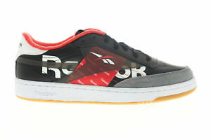 Reebok Club C 85 MU EH0139 Mens Black/Red Leather Low Top Lifestyle Trainers