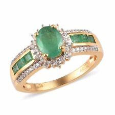 Plata esterlina 925 más oro amarillo Vermeil tamaño del anillo de Halo Esmeralda 8 CT 1.2