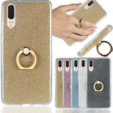Soft Silicone Bling Glitter Finger Ring Slim Case Cover For Huawei P20 Samsung