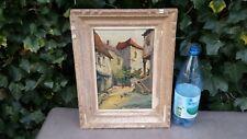 Ancien tableau huile sur bois signé rue de village animée avec poules et enfants