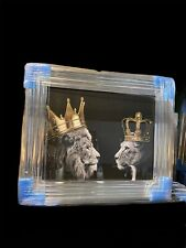LION KING AND QUEEN WITH CROWN LIQUID ART WALL ART CHROME LOOK WALL HUNG 65x55cm