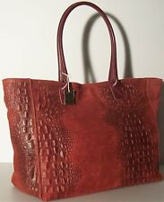 Made in Italy NEW Genuine Real Leather Handbag bag Purse Crocodile Red Burgundy