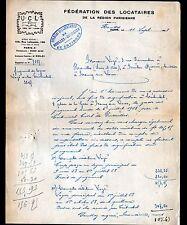 """HOUILLES-CARRIERES (78) FEDERATION SYNDICAT DES LOCATAIRES """"U.C.L."""" en 1928"""