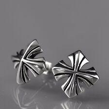 silver earrings cross flower-de-luce 316L stainless steel stud