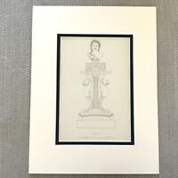 1900 Antico Stampa Storico Antico Greco Statua Busto Neoclassico Design Art