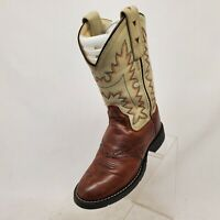 Old West Brown Bone Leather Stockman Cowboy Western Boots Kids Size 11 - 2552
