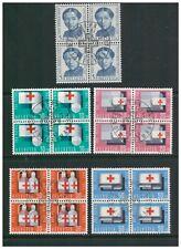 SWITZERLAND HELVETIA 1963 PRO PATRIA SET OF 5 IN BLOCKS OF 4 FINE USED RED CROSS