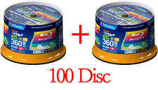 100 Verbatim BD-R 50GB 4x 6x BD-R DL 3D bluray disc Printable