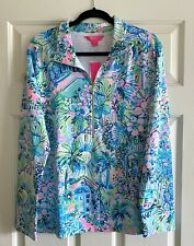 Lilly Pulitzer UPF 50 Skipper Popover Multi Lillys House LG Blue Pink