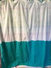 Threshhold Fabric Shower Curtain ~ Blue ~ Pompoms