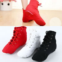 Women Ballet Lace Up Canvas Dance Shoes Heels Sole Gym Jazz Boots Shoes Girls