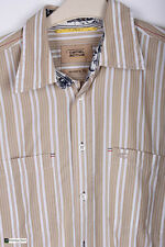 Camel Active Men Long Sleeve Regular Fit Casual Shirt  Beige Size M Striped