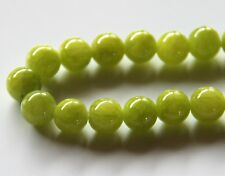 50pcs 8mm Round Gemstone Beads - Malaysian Jade - Opaque Peridot Green