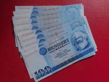 DDR Lot wenig gebrauchte Geldscheine 10 x 100 Mark 1975 - 100 % ORIGINAL 👌DD5