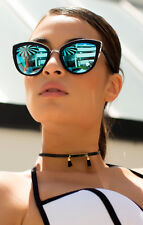 NEW QUAY My Girl Black/Blue Mirror Sunglasses
