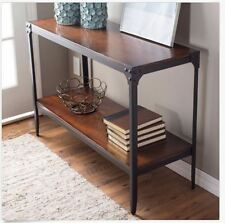 Rustic Industrial Style Wood Console Table Metal Hallway Entryway Furniture NEW