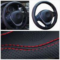 Car Steering Wheel Cover Durable PU Leather Black+Red Skid-proof for Four Season
