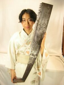 ANTIQUE JAPANESE SIGNED TOOL FORGED IRON HUGE MAEBIKI NOKOGIRI LONG TIMBER SAW