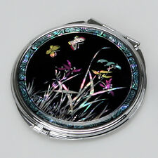 Mother of Pearl Flower Black Art Metal Double Compact Cosmetic Lady Purse Mirror