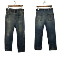 1970s Saddle King Jeans  / 70s Distressed Workwear Jeans Straight Leg / 33x30