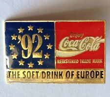 The Soft Drink Of Europe EU Flag 1992 CocaCola Pin Badge Rare Advertising (F7)