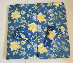"""Vintage Laura Ashley ~EMILIE~ Blue & Yellow Floral DRAPES and Tie Backs 86"""" Long"""