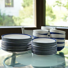 12 Pieces Blue/White Round Ceramic Dinnerware Set Home Kitchen Stoneware Dish