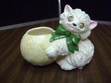Porcelain Cat Plant Pot Holder Vintage plant / string holder Cat with yarn