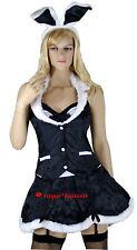 Tuxedo Black White Bunny Rabbit Girl Easter Fancy Dress Costume - M / 12-14