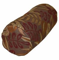 wf04g Brown Red Jungle Leaf Flower Throw Bolster Cover Yoga Neck Roll Case*Size