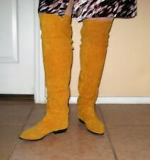 Lord Taylor Knee High Suede Leather Boots Fall Mustard Low No Heel  Size 7.5