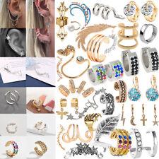 Ear Cuff Wrap Earrings No Piercing Clip On Ear Clips Silver Or Gold Tone Dangle