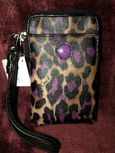 COACH NWT Ocelot Signature Multifunction Pouch Cosmetic Case Wristlet 66947